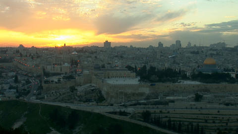 Jerusalem old sunset 1 Stock Video Footage