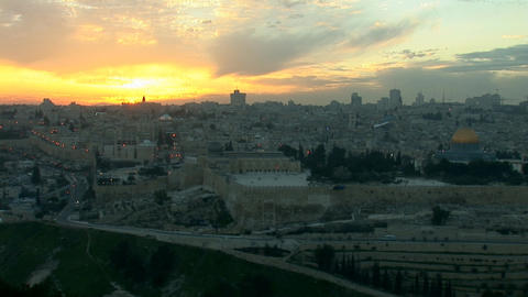 Jerusalem old sunset 1 Footage