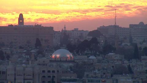 Jerusalem old sunset 3 Stock Video Footage