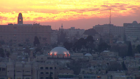 Jerusalem old sunset 3 Stock Video Footage