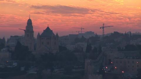 Jerusalem old sunset 5 Stock Video Footage