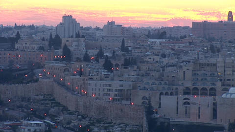 Jerusalem old sunset 7 Stock Video Footage