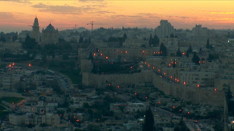 Jerusalem old sunset 9 Stock Video Footage