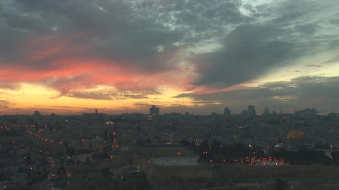 Jerusalem old sunset 11 Stock Video Footage