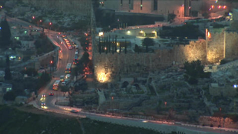Jerusalem old sunset 13 Stock Video Footage