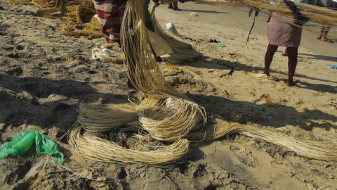 Fishermen pulling a fishing net Stock Video Footage