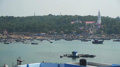 Harbor at fishing village Stock Video Footage