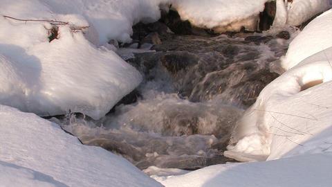 Winter river in Utoro,Hokkaido,Japan Stock Video Footage
