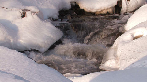 Winter river in Utoro,Hokkaido,Japan Stock Video Footage