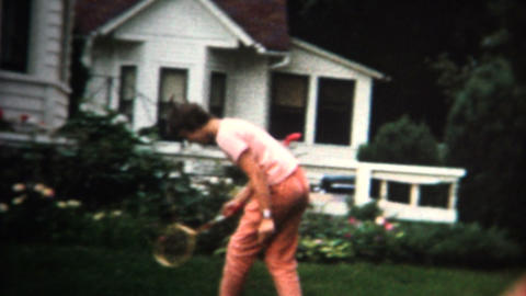 (8mm Vintage) 1962 Playing Badmiton In Front Yard Footage