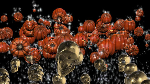 Splash Halloween Pumpkin And Golden Skull #2 stock footage