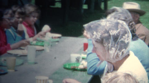 (8mm Vintage) 1962 Summer Outdoor Community Picnic Town Breakfast. Iowa, USA Footage