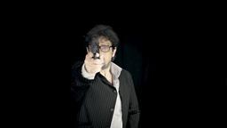 Old Man Mafia Killer Eyeglasses Suddenly Shooting stock footage