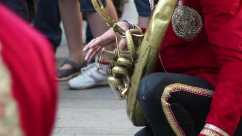 Street Musician Playing Trombone Footage