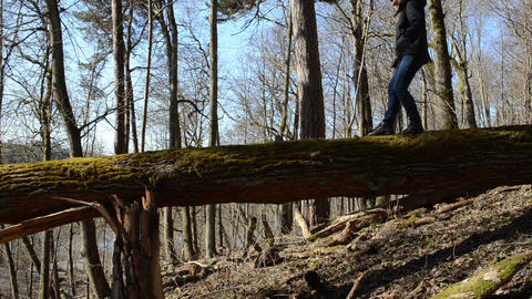 girl carefully goes big old fallen tree and sits down Footage