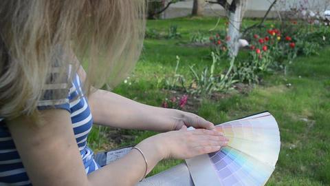 Color pick color palette spring garden. Woman designer outdoor ภาพวิดีโอ