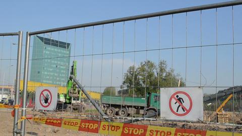 forbidden warning stop signs bar excavator dig dirt construction Footage