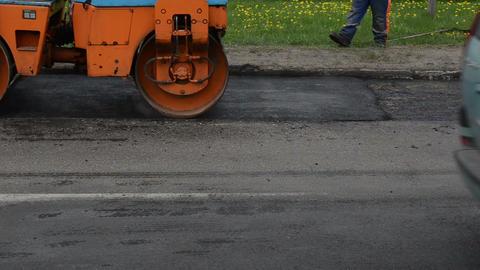 heavy vibration roller machine asphalt press work Footage