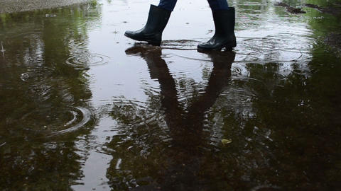 Air bubbles on poll soak water and human in gumboots cross it Footage