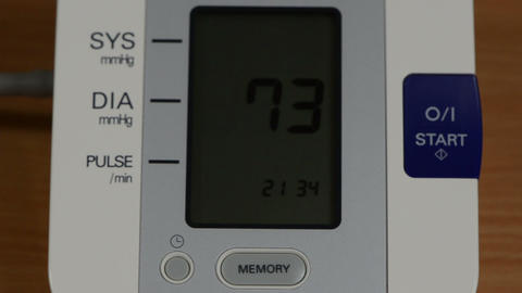 digital blood pressure measurement equipment screen with numbers Footage