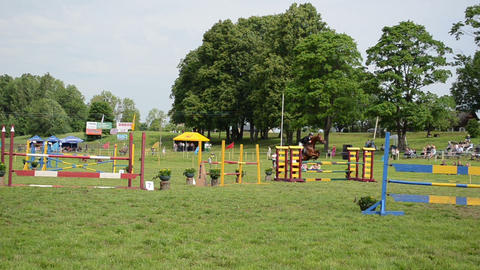 Barrier in steeplechase horse race with obstacles and rider jump Footage