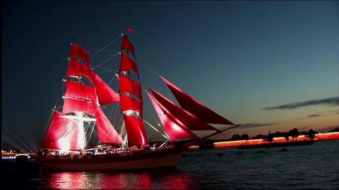 Sailboat sailing along the waterfront Footage