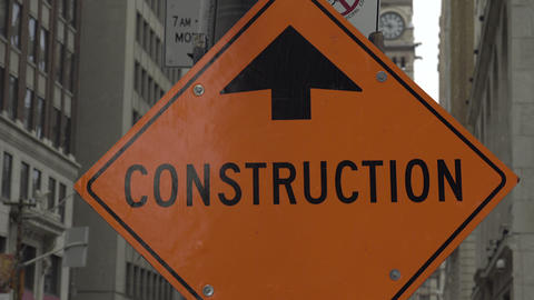 Construction Sign In The City. 4k UHD stock footage