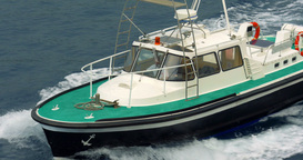 4K, Pilot Boat Leading Ferry, Calvi, Corsica stock footage