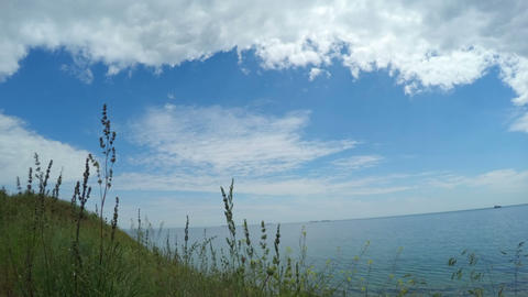 Clouds Over A Cliff On Coastline stock footage