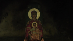 Eastern Orthodox icon of Blessed Virgin Mary with Jesus Christ Footage