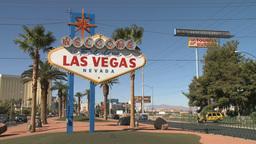 Visitors cross street to see Las Vegas sign Footage