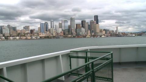 Ferry cruises toward Seattle Footage