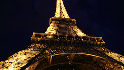 Low angle shot of The Eiffel Tower By Night Footage