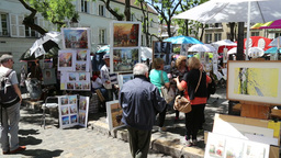 Paintings on painters corner at the Montmartre Footage