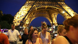 People visiting the Eiffel by night Footage