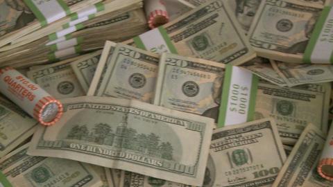 Pile of cash - pan (5 of 7) Footage