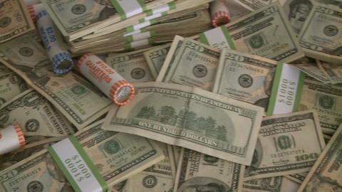 Pile of cash - pan (3 of 7) Footage