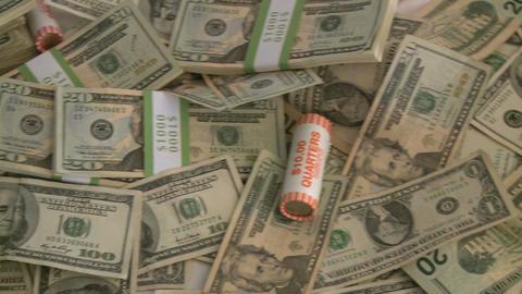 Pile of cash - pan (2 of 7) Footage