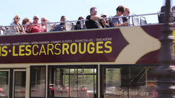 Tourists sightseeing open bus in Paris Footage