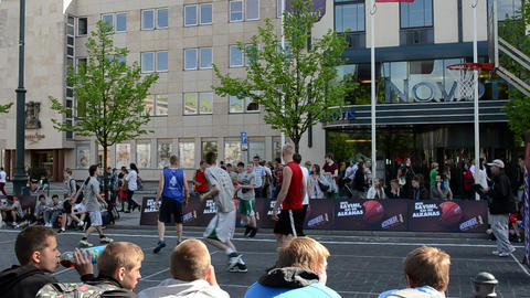 players play in basketball snickers street tournament 3x3 Footage