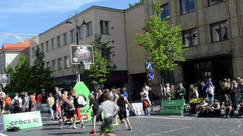 people play basketball in outdoor snickers tournament 3x3 Footage