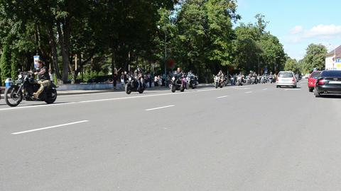 bikers during birzai bike festival in central vytautas street Footage
