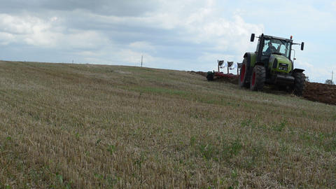 industrial agriculture machinery works summer end field Footage