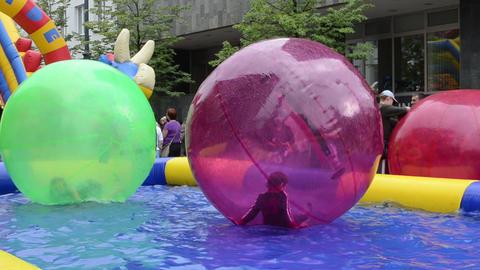 kids zorb bubble ball swim play pool vilnius gediminas prospect Footage