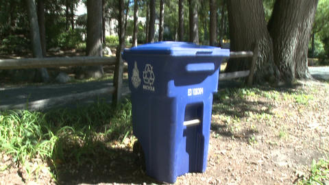 Blue recycling container at Nature Center Live Action
