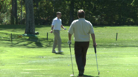 Golfers on the green (3 of 7) Footage