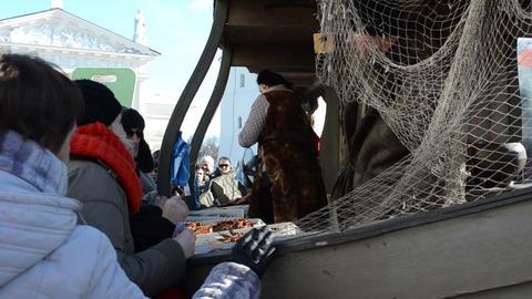 merchant fish customer ship imitation market fair cathedral Stock Video Footage