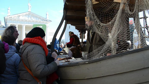 people buy fish fisherman ship imitation market fair... Stock Video Footage