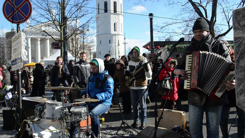 musician play music drums accordion street event people... Stock Video Footage