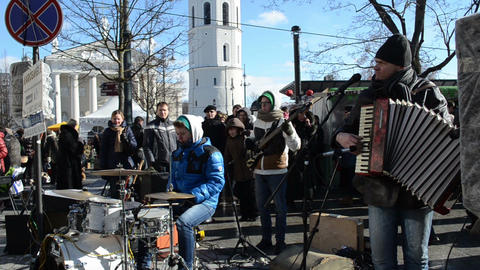 musician play music drums accordion street event people vilnius Footage